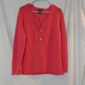 Eddie Bauer Coral Sweater 3 Button Front Size XXL